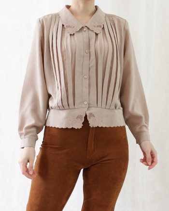 Vintage blouse lace collar pleated T819