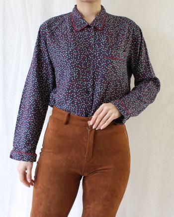 Vintage blouse polka blauw rood T692.3