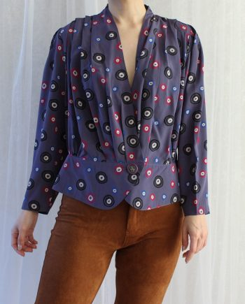 Vintage blouse polka paars roze T828