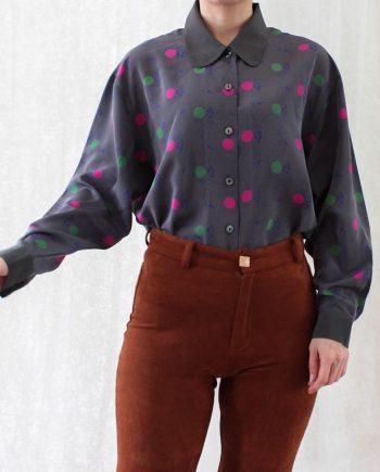 Vintage blouse polka roze groen T683