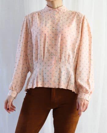 Vintage blouse polka roze zwart T319