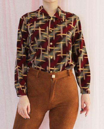 Vintage blouse rood geel T313
