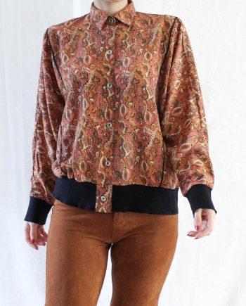Vintage blouse roze beige T304.1