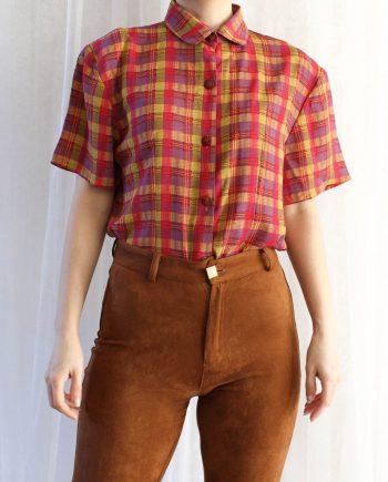 Vintage blouse stripe roze geel T707