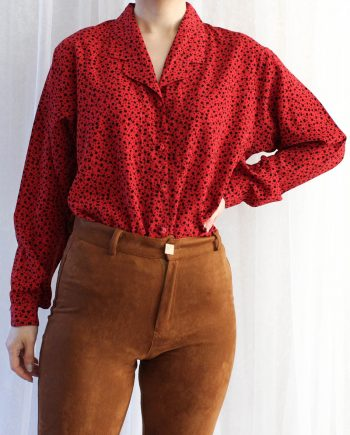 Vintage blouse vierkant rood zwart T640.3