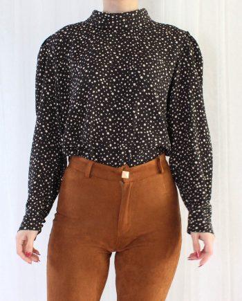 Vintage blouse zwart beige T802