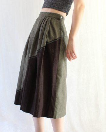 Vintage rok bruin groen T626