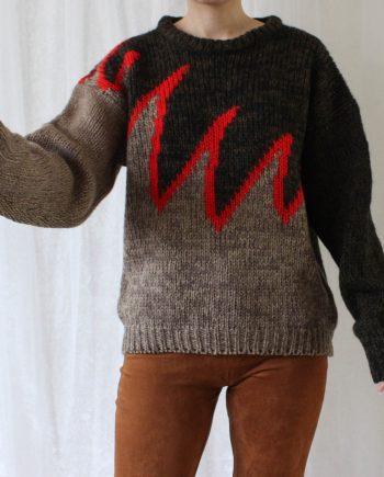 Vintage trui bruin rood T300