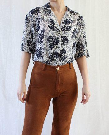 Vintage blouse bloem blauw wit T642