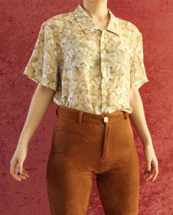 Vintage blouse bloem beige wit T641