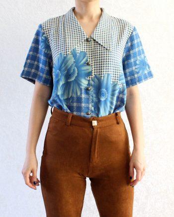 Vintage blouse bloem blauw T601