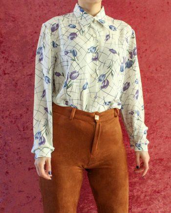 Vintage blouse bloem blauw paars T696