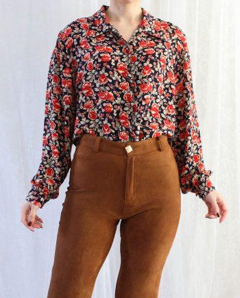 Vintage blouse bloem navy rood T680