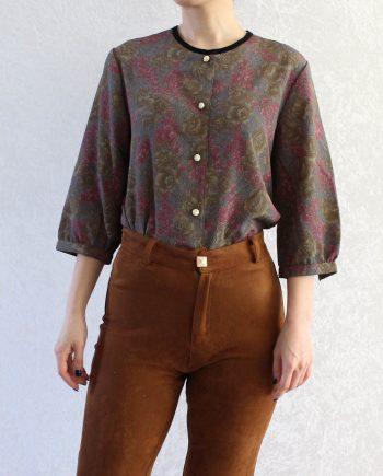 Vintage blouse bloem roze groen T695