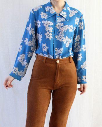 Vintage blouse bloem wit blauw T603
