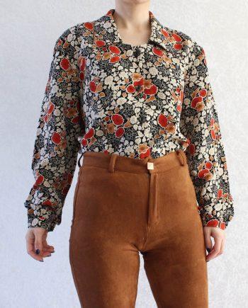 Vintage blouse bloem zwart rood T813