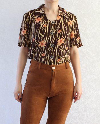 Vintage blouse flower bruin roze T315