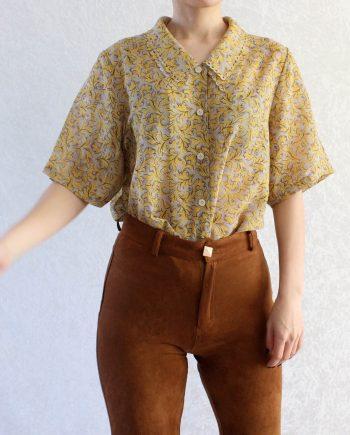 Vintage blouse geel grijs T305