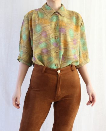 Vintage blouse groen bruin T601.4