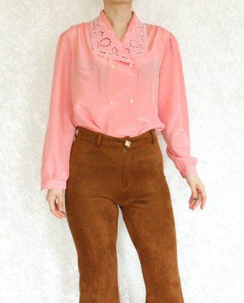 Vintage blouse lace collar roze T319