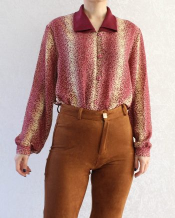Vintage blouse leopard roze T677