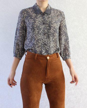 Vintage blouse navy beige T827