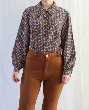 Vintage blouse paars rood T802