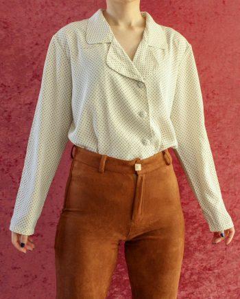 Vintage blouse polka dot zwart wit T715