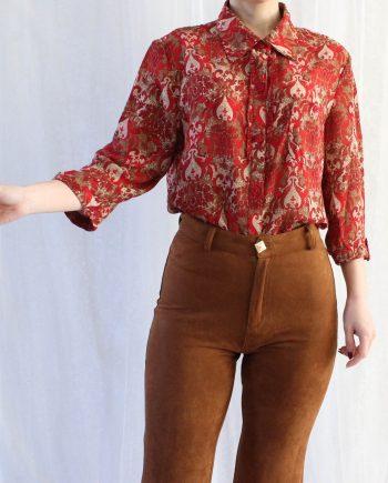 Vintage blouse rood beige T822