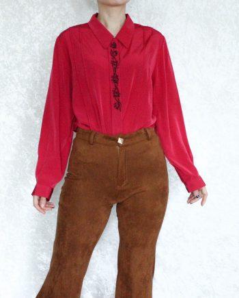 Vintage blouse roodroze T692.2