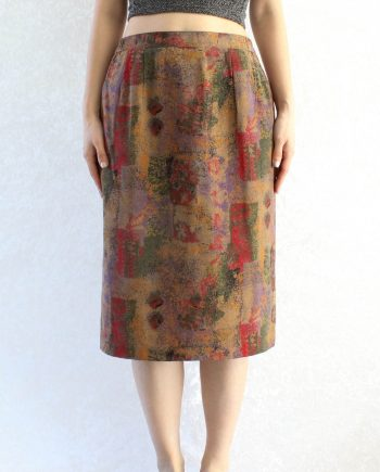 Vintage rok abstract geel rood T328