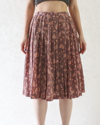 Vintage rok blad roze lila T316