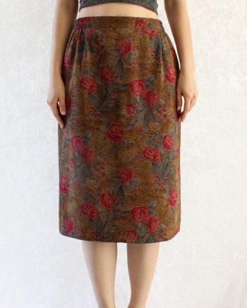 Vintage rok bloem roze bruin T677