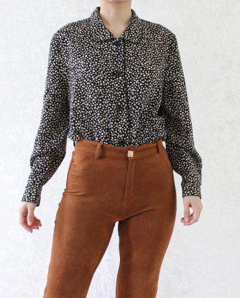 Vintage blouse beige zwart T852