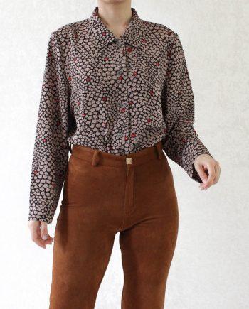 Vintage blouse bloem beige rood T322