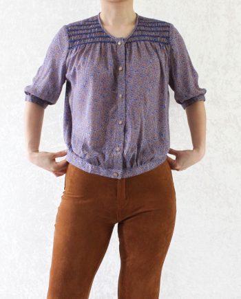 Vintage blouse bloem blauw T839
