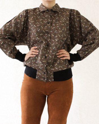 Vintage blouse bloem bruin zwart T602
