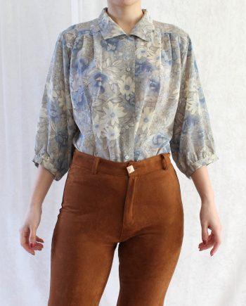 Vintage blouse bloem grijs blauw T371