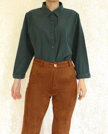 Vintage blouse bloem groen T810