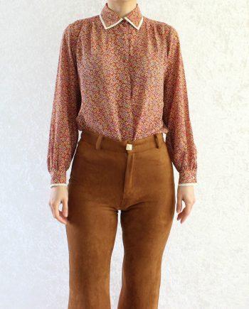 Vintage blouse bloem rood geel T849