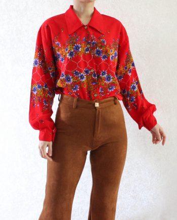 Vintage blouse bloem rood paars T712