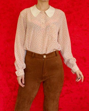 Vintage blouse bloem roze beige T365