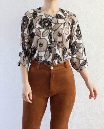 Vintage blouse bloem zwart beige T850