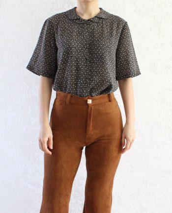 Vintage blouse bloem zwart beige T852