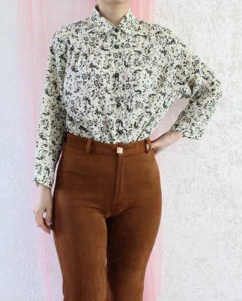 Vintage blouse bloemtje beige zwart T808