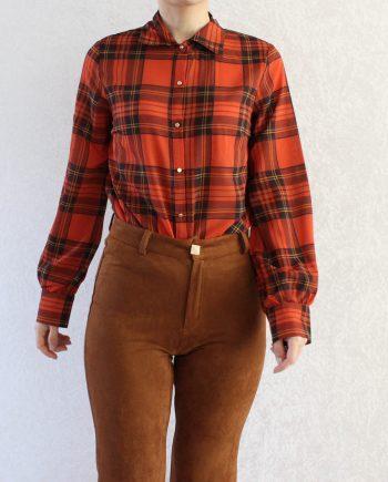 Vintage blouse blok oranje T640.5