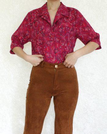 Vintage blouse bohemian roze rood T833