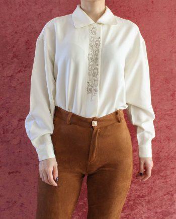 Vintage blouse cream white T826