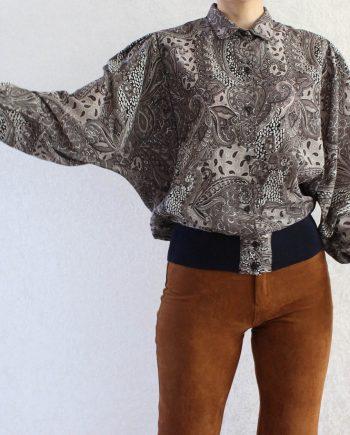Vintage blouse gypsy grijs navy T826