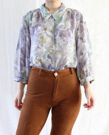 Vintage blouse paars groen T345